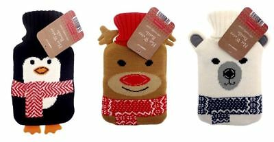 Novelty Cute Childrens Kids Small Hot Water Bottle Knitted Cover - Christmas