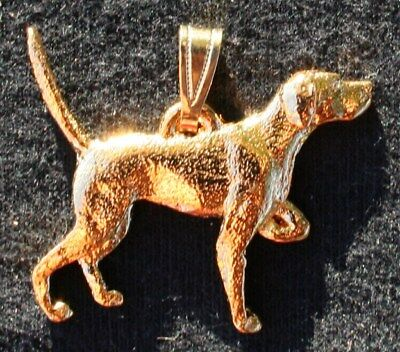 Englilsh Pointer 24K Gold Plated Pewter Pendant Jewelry USA Made