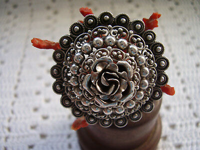 PERUZZI 800 Sterling Silver Florence Tiered to Flower Brooch PIN