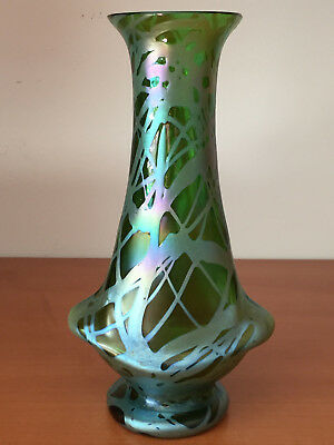 Antique Vintage Crete Green KRALIK Loetz Glass Vase Overlay Decoration 7 7/8""