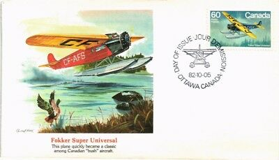 Dr Jim Stamps Airplane Fokker Super Universal First Day Issue Canada Cover 1982