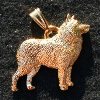 Schipperke 24K Gold Plated Pewter Pendant Jewelry USA Made