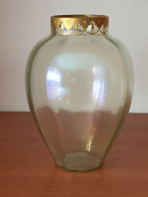 Antique Kralik Loetz Art Glass vase EMBOSSED ENAMELED GOLD Rim Optic Rib 6 5/8""