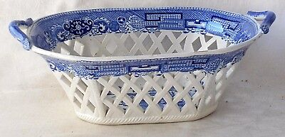 C19Th Spode Blue And White Transfer Printed Willow Pattern Chestnut Basket