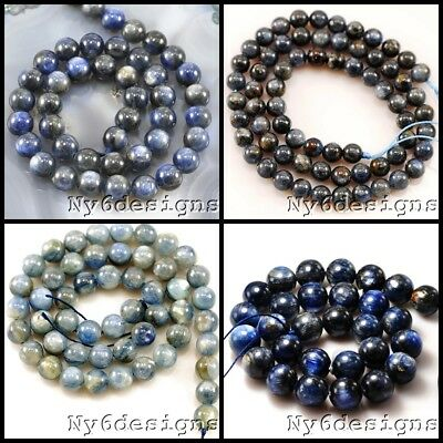 "AAA+ Natural Blue Kynite Round Beads 15"" 6 8 10 14mm"