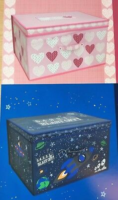 Childrens Laundry Storage Kids Toy Box Girls Pink Hearts Or Boys Space Rocket