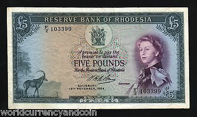 Rhodesia Africa 5 Pounds P26 12-10-1964 Queen Rare Dt Antelope Zimbabwe Currency