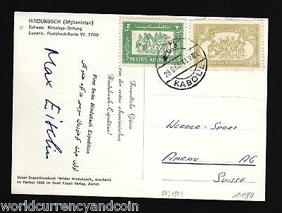 Afghanistan Swiss Kabul 1963 Hindukush Mountain Expedition Signed Extrarare Card