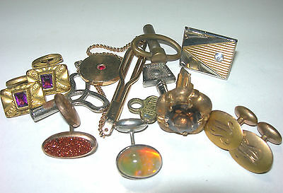 Antique Victorian Mens Mixed Lot Cufflinks 14K Gold, Mixed Metals, Topaz