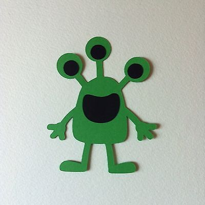 6 X Monster Die Cut Toppers-Aliens Boys Toys Space-Cardmaking