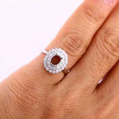 Solid 10k White Gold Genuine Diamonds Semi Mount Engagement Ring 5x6mm Oval Cut