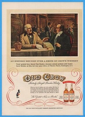 1954 Old Crow Whiskey Sam Houston Daniel Webster ONeales Tavern Washington DC Ad