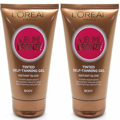2 x L'OREAL PARIS SUBLIME BRONZE BODY TINTED SELF TANNING GEL NATURAL TAN 150ml