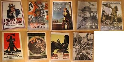 Thirteen World War I & II Reproduction Military Posters, USA, Germany, Britain++