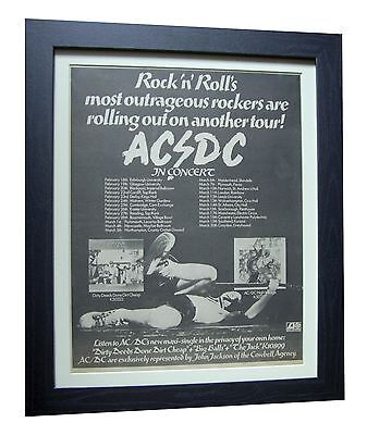 AC/DC+ACDC+Dirty Deeds Cheap+TOUR+POSTER+AD+FRAMED+ORIG 1977+EXPRESS GLOBAL SHIP