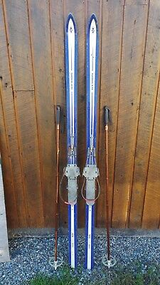 "VINTAGE 75"" Skis BLUE WHITE Finish Signed SOHLER with Metal Bindings"