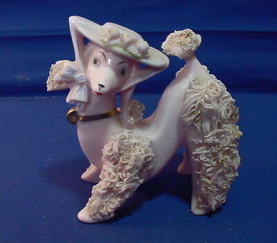 Vintage Pink Spaghetti Poodle Dog w/Hat - No Puppies