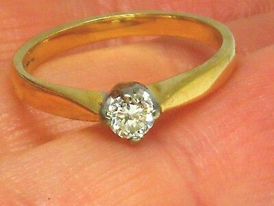 18ct Gold 18k Gold 0.20ct Diamond Solitaire Engagement Ring size J