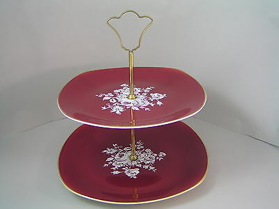 Midwinter Two Tier Floral Gilded Cake Stand.