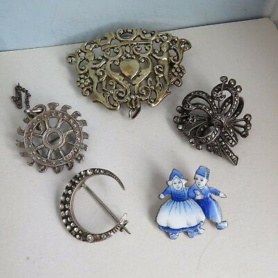 Mixed Lot VINTAGE/Antique BROOCHES -Wear/Resell-some silver