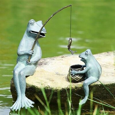 Adorable Fishing Frog Mama & Baby  Statues Garden Deor,Aluminum,20''H.
