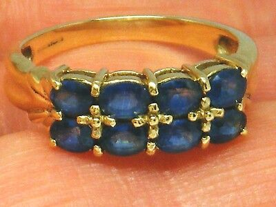 9K Gold 9ct Yellow Gold  Sapphire Hallmarked ring size N