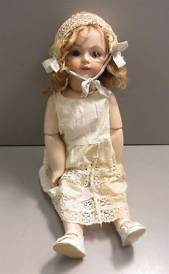 """17"""" Antique Reproduction Bisque Doll W/ Composition Body"""