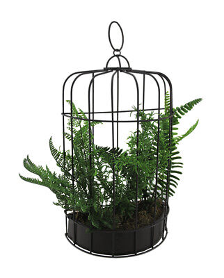 Zeckos 16 Inch Tall Mixed Fern Silk Plant In Metal Birdcage Wall Planter