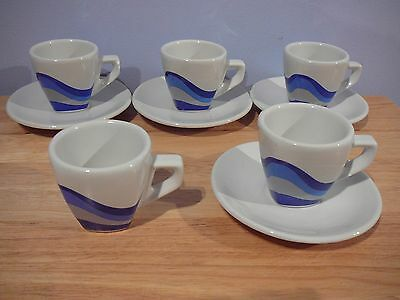 Acf Italy Square Blue Grey & White Espresso 5 Cups & 4 Saucers