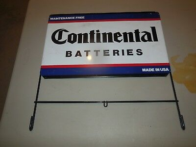 """CONTINENTAL BATTERIES DOUBLE SIDED 20"""" x 12 3/4"""" SIGN WITH BRACKET!!!"""