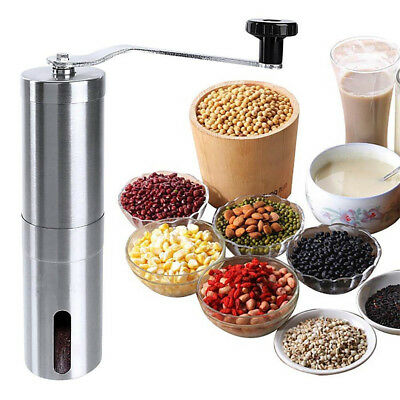 Silver Stainless Steel Manual Coffee Bean Pepper Seeds Grinder Mill Kitchen UK
