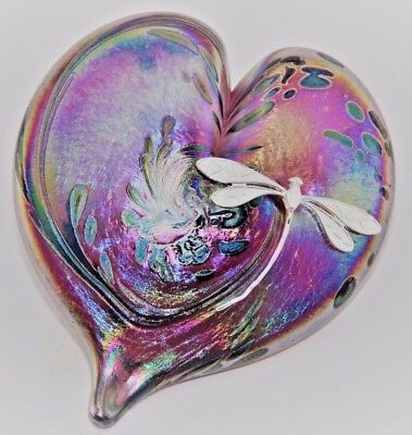 Neo Art Glass pink heart paperweight sterling silver dragonfly signed K.heaton
