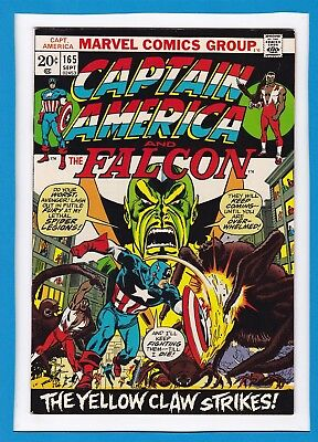 """Captain America & The Falcon #165_Sept 1973_Very Fine_""""the Yellow Claw Strikes""""!"""