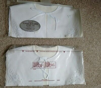 Bnip : 2 X Vintage St.michael Embroidered Collars/yokes 100% Cotton: Sealed Knot