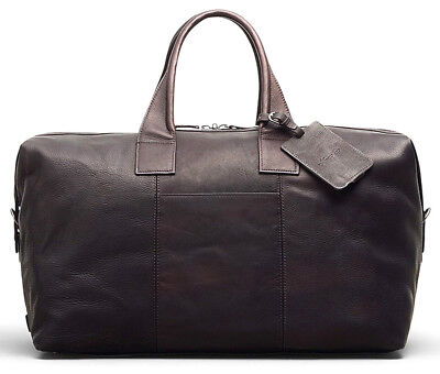 """Kenneth Cole New York Leather Duffel Bag 20"""" Carry On Luggage - Espresso Brown"""