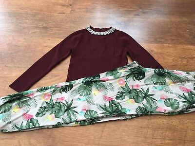 River Island H+M Girls Small Bundle / Outfit 7-8Yrs Cropped Top Trousers