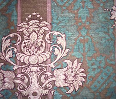 BEAUTIFUL GENTLY FADED ANTIQUE 19thc FRENCH LINEN CRETONNE