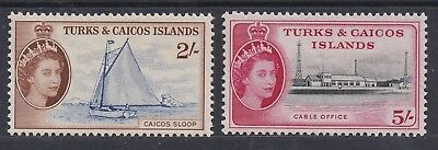 Turks & Caicos Islands 1957 Qeii Pictorial 2/- And 5/- Mnh **
