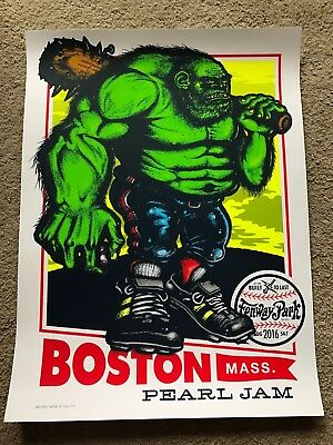 Pearl Jam Fenway Ames Bros Poster Green Monster