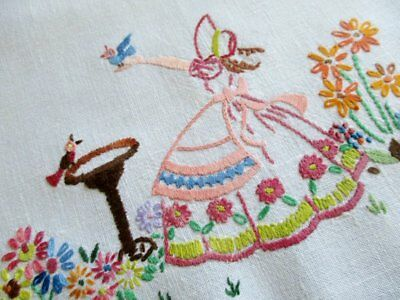 Vintage Tray Cloth Hand Embroidered Crinoline Ladies & Flowers