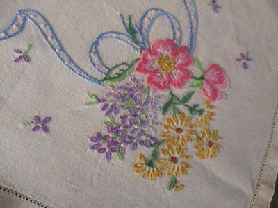 Vintage Tablecloth-Bouquets Of Flowers-Hand Embroidered-Linen