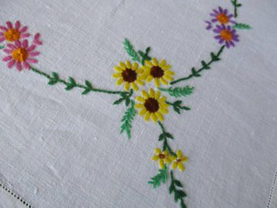 """VINTAGE TABLECLOTH-HAND EMBROIDERED with COLOURFUL FLOWERS - 48""""SQ."""