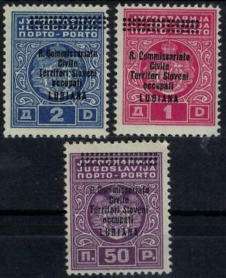 ITALIAN OCCUPATION LJUBLJANA 1941 Postage Due complete set 3v MH / B13887