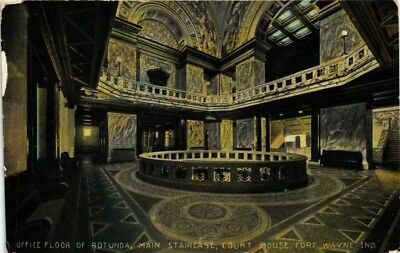 Dr Jim Stamps Us Interior Of Court House In Fort Wayne Indiana 1912 Postcard