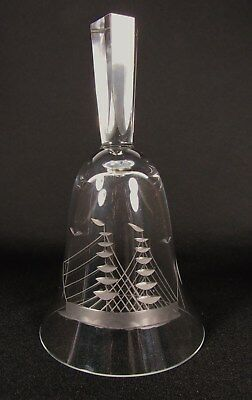 Vintage Nautical SAILING SHIP Schooner Etched Crystal Glass Bell No Clapper