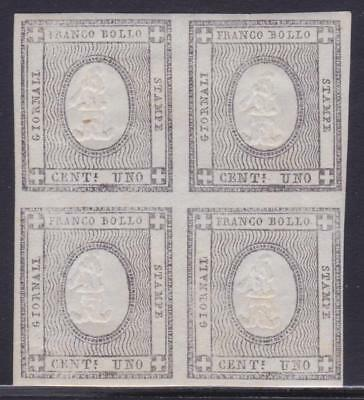ITALIAN STATES SARDINIA 1861 Newspaper 1c bloc of 4v with original gum B14428