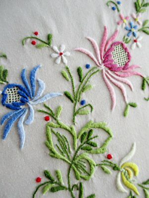 "VINTAGE MADEIRA TABLECLOTH - BEAUTIFULLY HAND EMBROIDERED-50""sq."