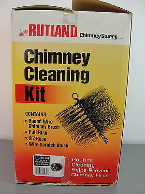 "🏠 Rutland Chimney Cleaning Kit 16480 8"" Round Wire Brush 25' Rope Pull Ring Nib"