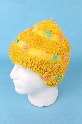 VINTAGE 1950's YELLOW FLORAL ABSTRACT PLAYTEX SWIM CAP *EXCELLENT CONDITION*