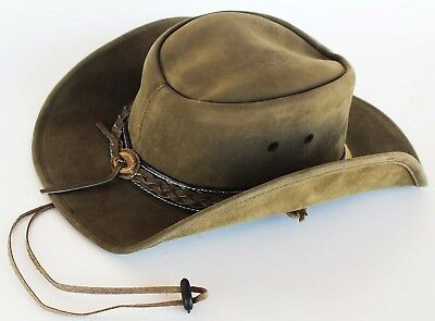 Horse Western Cowboy Indiana Jones Crushable Oiled Leather Hat 24H06